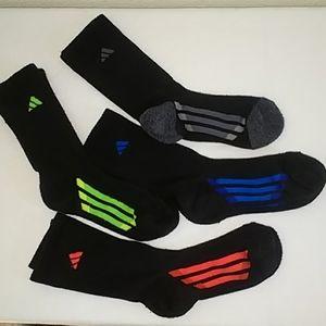 4 pr Adidas Youth Climalite Crew Socks Sz: 3-9Y